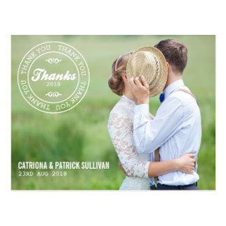 Custom Wedding Date Logo Photo Wedding Thank You Postcard