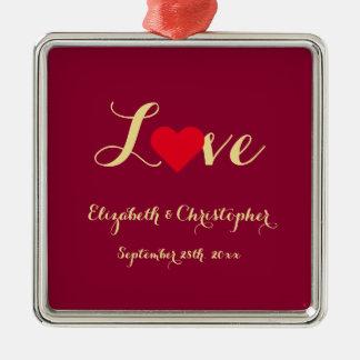 Custom Wedding Date Name Love Heart Anniversary Christmas Ornament