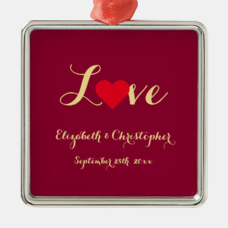 Custom Wedding Date Name Love Heart Anniversary Silver-Colored Square Decoration