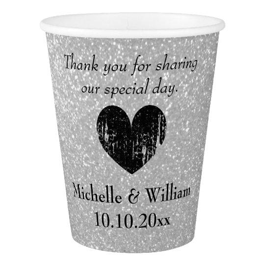 Custom wedding faux silver glitter print paper cup