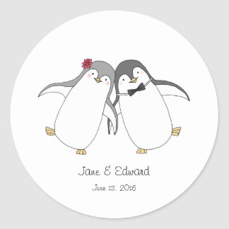 Custom Wedding Favor Sticker Cute Penguins Couple