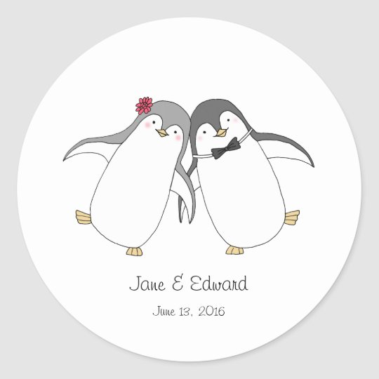 Custom Wedding Favour Sticker Cute Penguins Couple