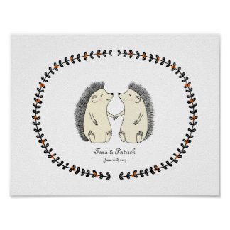 Personalized Wedding Gifts For Couple Uk : Custom Wedding Gift for Couple Cute Hedgehog Print