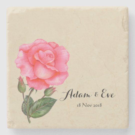 Custom Wedding Gift Tile Pink Rose Stone Coaster