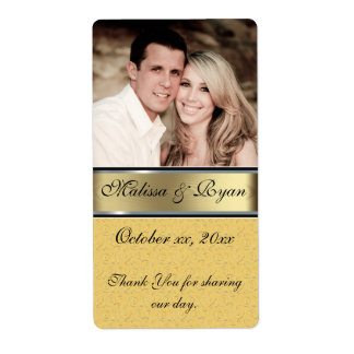 Custom Wedding Gold Wine Label Add Your  Photo