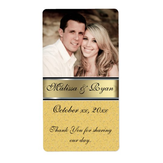 Custom Wedding Gold Wine Label Add Your  Photo