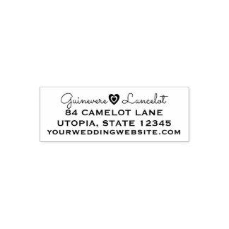 Custom Wedding Heart Love | Return Address 4 Lines Self-inking Stamp