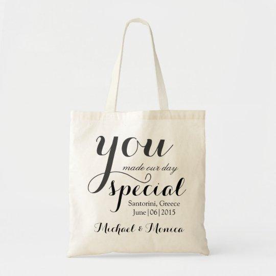 Custom Wedding Hotel Gift Tote Bag