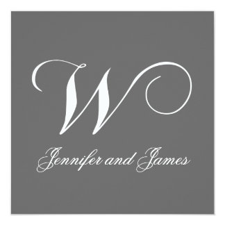 Custom Wedding Invitation Monogram W Names