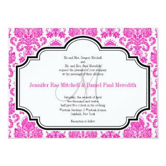 Custom Wedding Invitations Hot Pink Damask