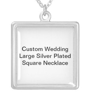 Custom Wedding Large Silver Plated Square Necklace