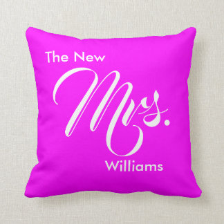 Custom Wedding Magenta The New Mrs. Throw Pillow