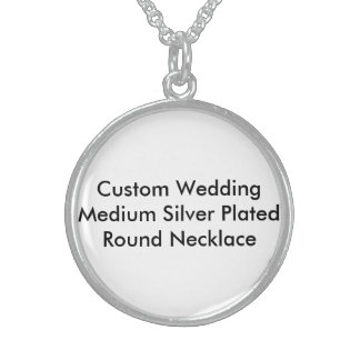 Custom Wedding Medium Silver Plated Round Necklace Sterling Silver Necklaces