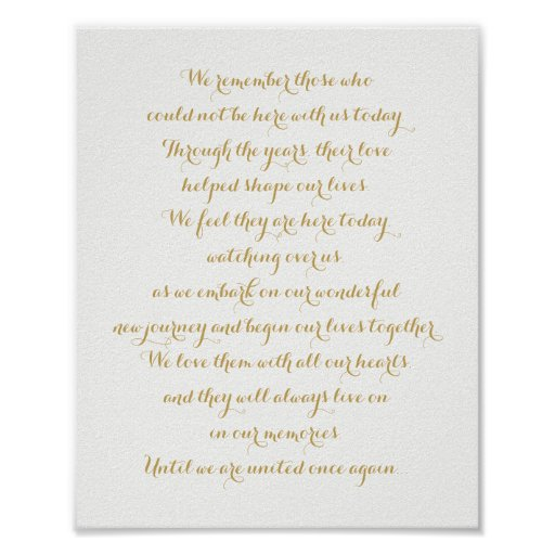 Custom Wedding Memorial Sign Gold