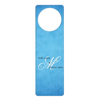 Custom Wedding Monogram Blue Vintage Style Door Hanger