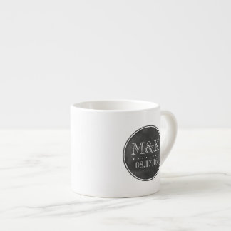 Custom Wedding Monogram Chalkboard Style Espresso Cup