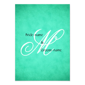 Custom Wedding Monogram Green Vintage Style Card