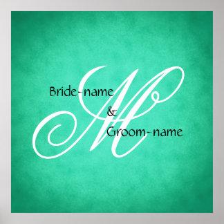 Custom Wedding Monogram Green Vintage Style Poster