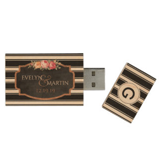 Custom Wedding Monogram Names USB Wood Flash Drive