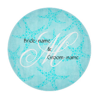 Custom Wedding Monogram Turquoise Starfish Cutting Board