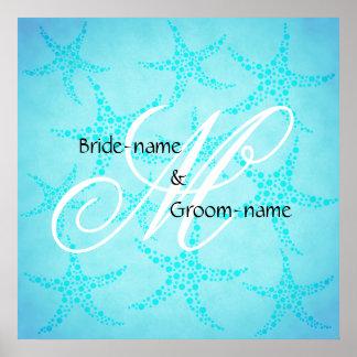 Custom Wedding Monogram Turquoise Starfish Poster