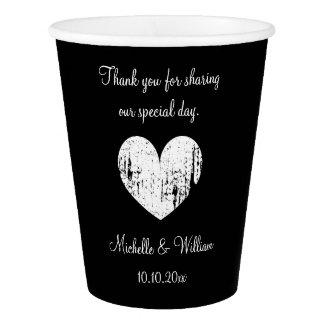 Custom wedding monogram vintage heart paper cups