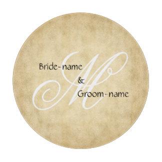 Custom Wedding Monogram Vintage Style Cutting Board