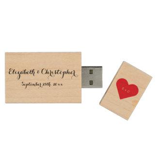 Custom Wedding Name Monogram Heart Wood USB Drive