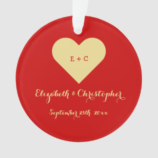 Custom Wedding Newlywed Monogram Anniversary Heart Ornament