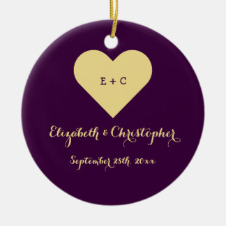Custom Wedding Newlywed Monogram Heart Anniversary Christmas Ornament