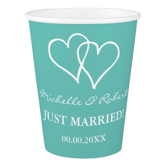 Custom wedding party cups with interlocking hearts
