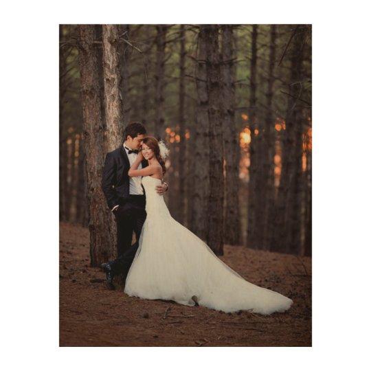 Custom Wedding Photo Art Print on Wood