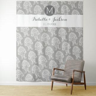 Custom Wedding Photo Backdrop Bride Groom Monogram Tapestry