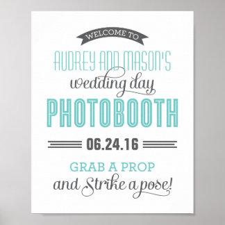 Custom Wedding Photo Booth Sign | Aqua Blue Gray