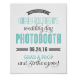 Custom Wedding Photo Booth Sign   Aqua Blue Grey Print