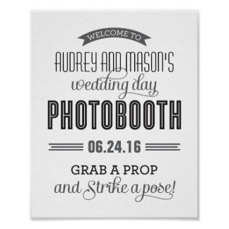 Custom Wedding Photo Booth Sign | Black and White Poster