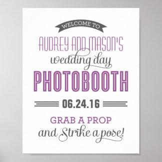 Custom Wedding Photo Booth Sign | Purple Gray