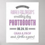Custom Wedding Photo Booth Sign | Purple Grey Poster