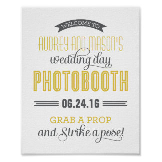 Custom Wedding Photo Booth Sign | Yellow Gray