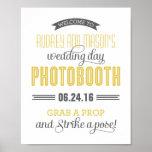 Custom Wedding Photo Booth Sign | Yellow Grey Poster