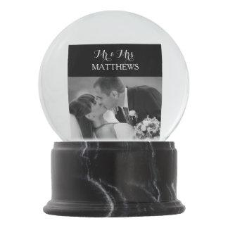 Custom Wedding Photo Monogram Snow Globe
