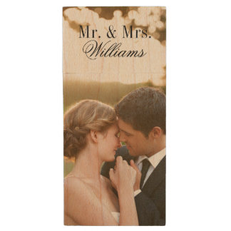 Custom Wedding Photo Monogram USB Flash Drive Wood USB 2.0 Flash Drive