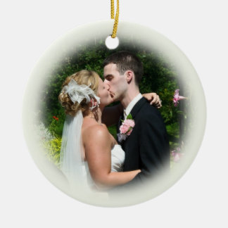 Custom Wedding Photo Ornament - Ecru