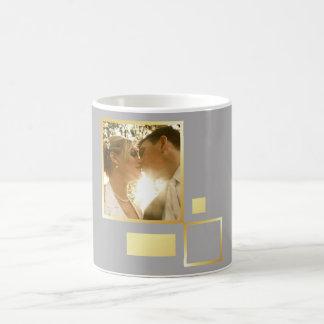 custom wedding photo template, faux gold design coffee mug