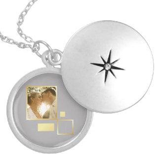 custom wedding photo template, faux gold design locket necklace