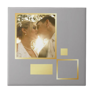 custom wedding photo template, faux gold design tile