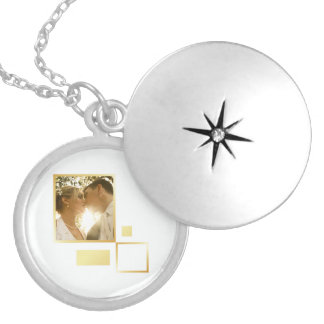 custom wedding photo template, gold foil design silver plated necklace