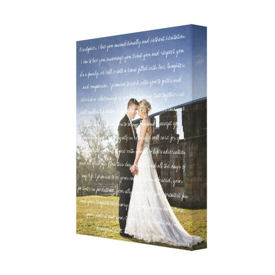 Custom Wedding Photo & Vows Canvas Print