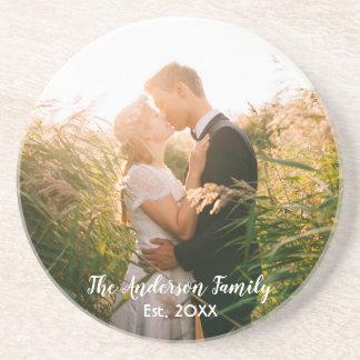 Custom wedding photo white letters coaster