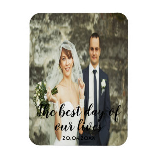 Custom wedding photo with text date black letters magnet